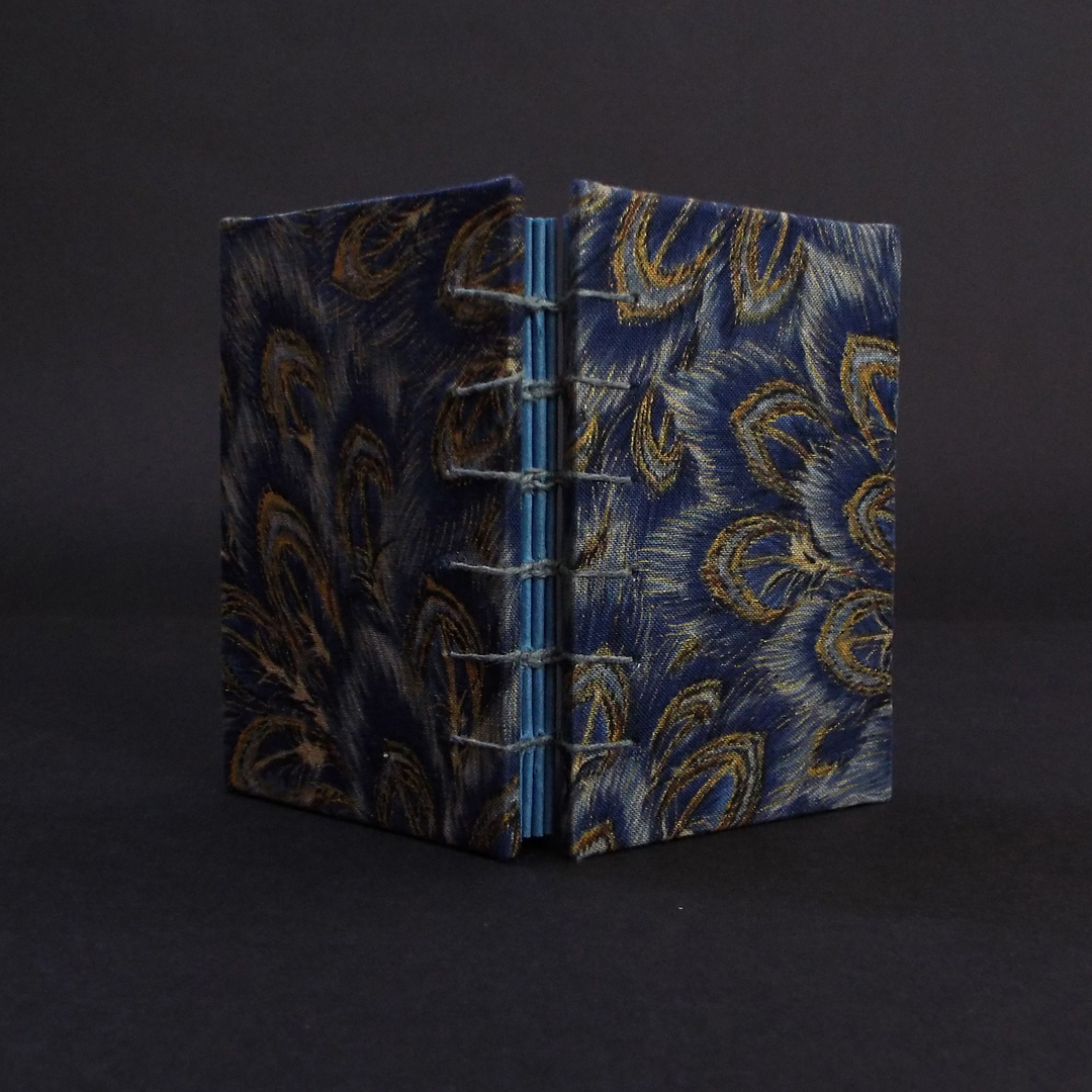 Blue peacock mini coptic bound book spine