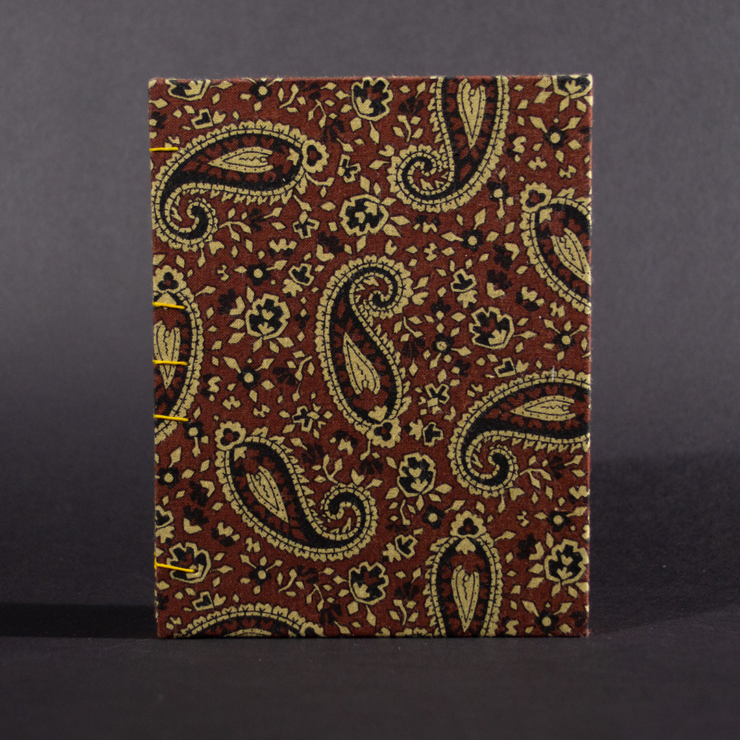 Brown paisley octavo Coptic bound journal front cover