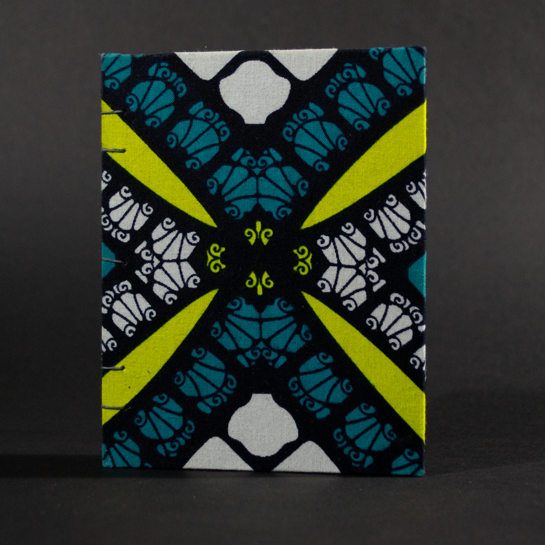 Cover of geometric blue and yellow octavo Coptic book