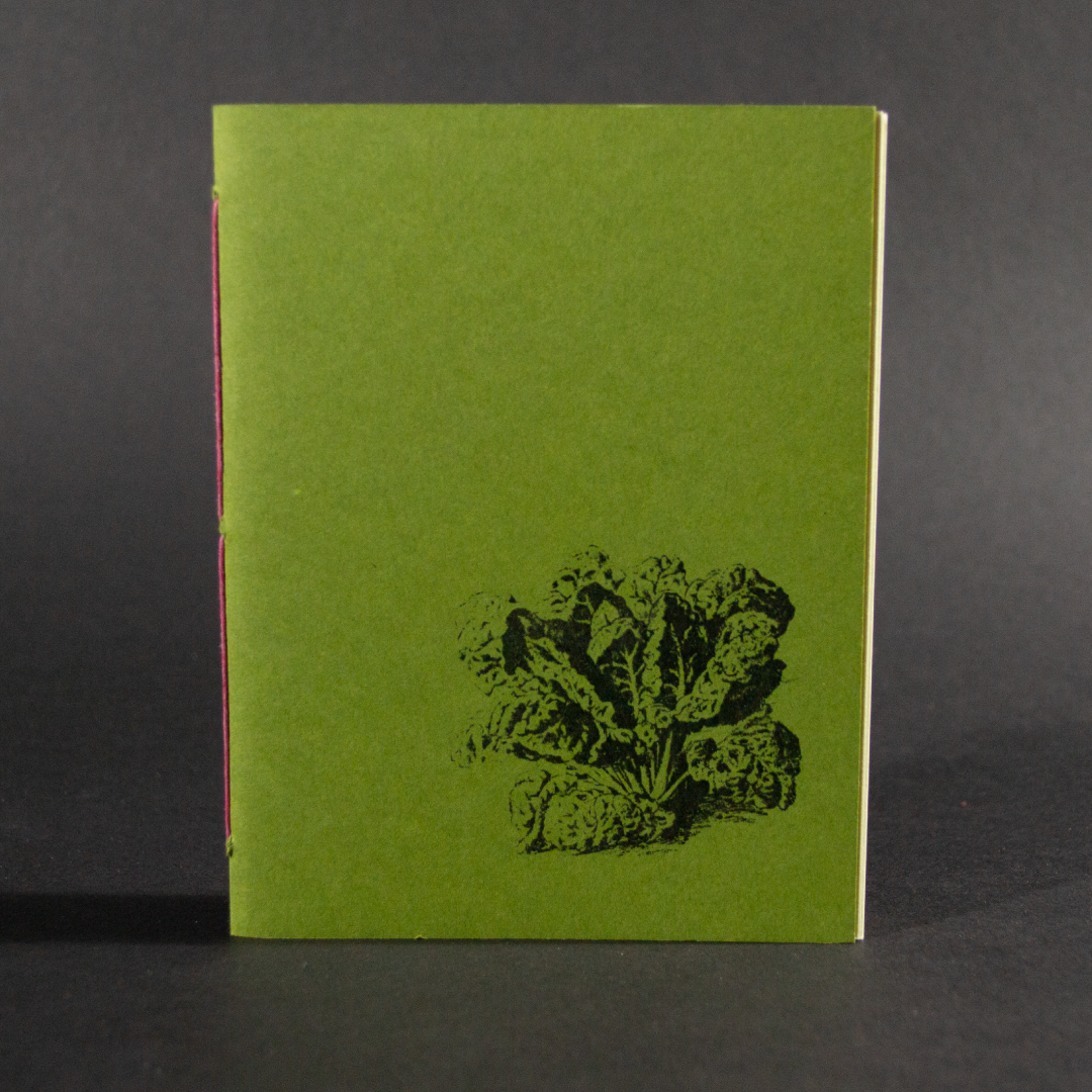 A head of lettuce is on the cover of this green octavo pamphlet book