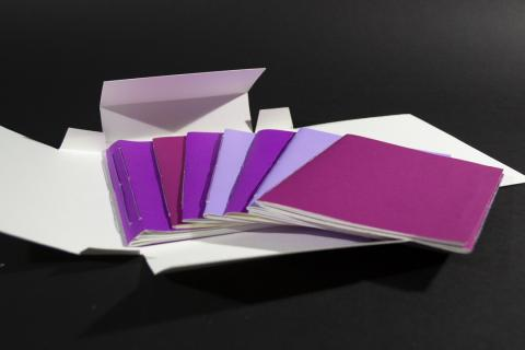 Eight easy softcover books covered in purple papers and fanned out on top of a softcover case.