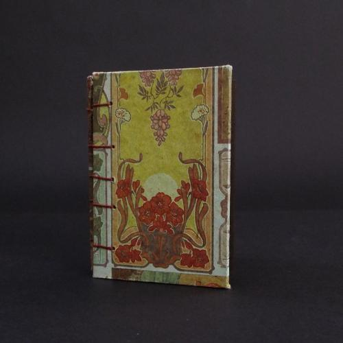 Art nouveau floral coptic bound journal cover
