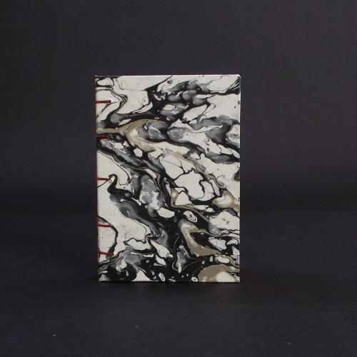Black marbled mini coptic bound book cover