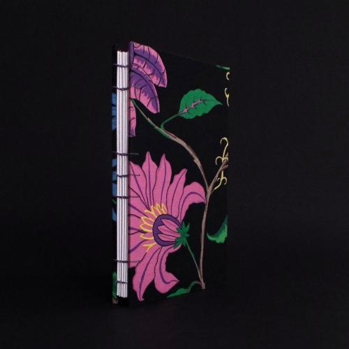 Black Floral Quarto Coptic bound journal front cover and spine