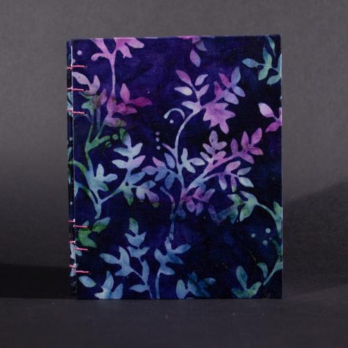 Blue Batik Vines octavo Coptic bound journal front cover