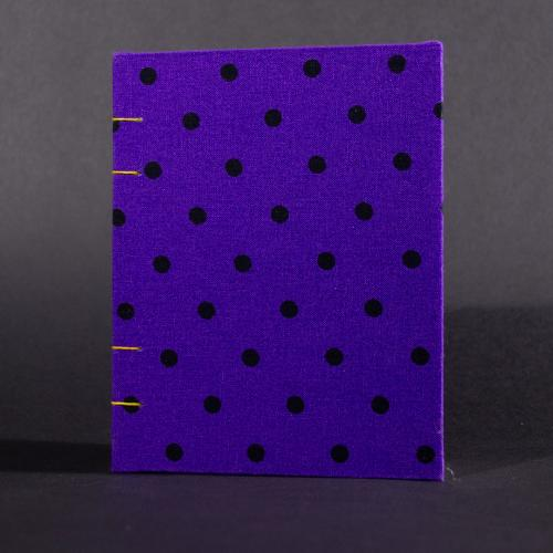 Purple polkadot octavo Coptic bound journal front cover