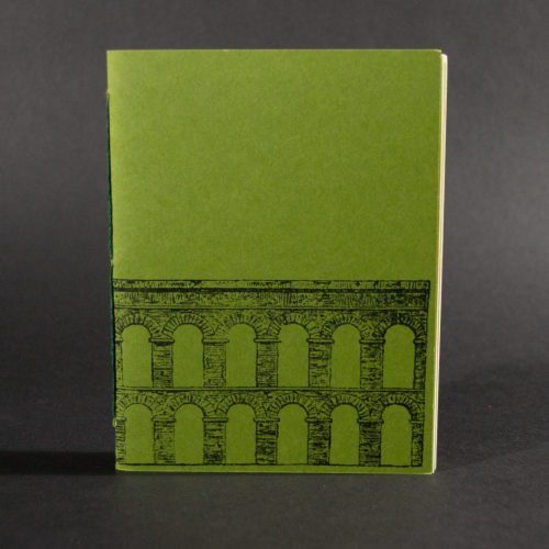 An aqueduct is on the cover of this green octavo pamphlet book