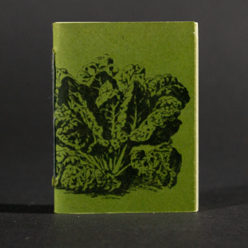 A head of lettuce is transferred to the green front cover of this mini pamphlet book