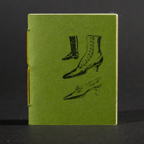 Three women's vintage shoes grace the green front cover of this mini pamphlet book