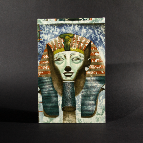 Front cover Egyptian themed quarto Coptic bound journal featuring a pharaoh
