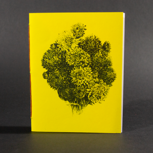 A bouquet of flowers is on the cover of this yellow octavo pamphlet book