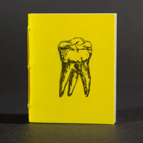 A single yellow tooth is on the cover of this mini pamphlet book