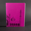 The Taj Mahal wraps around the cover of this pink octavo pamphlet book